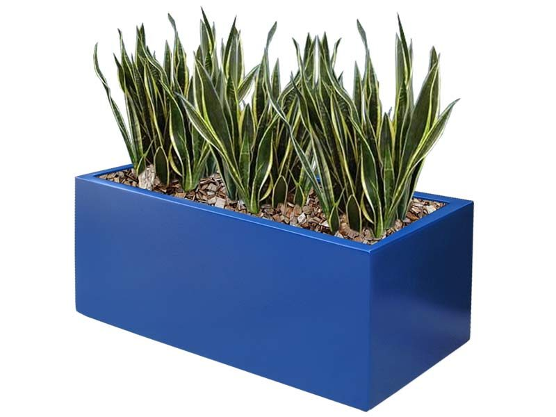 Bright blue Kiel rectangular planter box