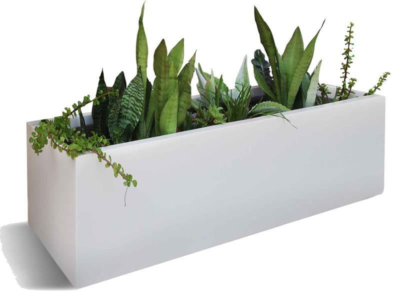 Montserrat long white rectangular planter