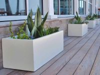 White planters on a wooden patio