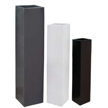 Britz tall white and black planters in three sizes