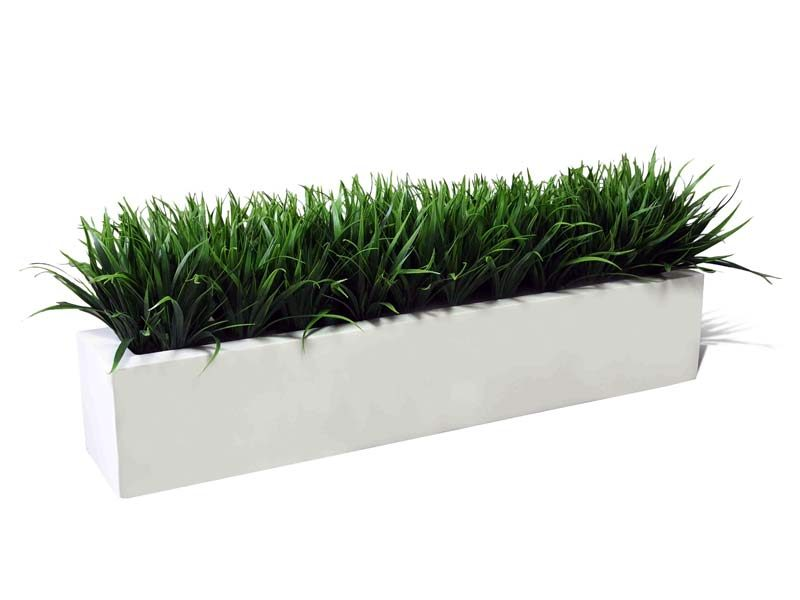 Long white rectangular planter