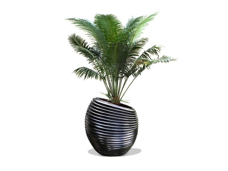 Spiral modern black planter