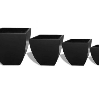 Lima black tapered square planter in four sizes