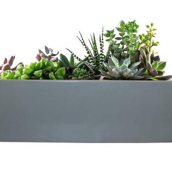 Tupelo gray rectangular planter