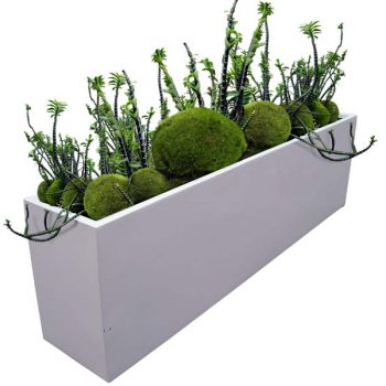 Hudson large rectangular white planter