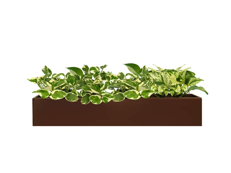 Long Short Wheeling Table Top Rectangular Brown Planter