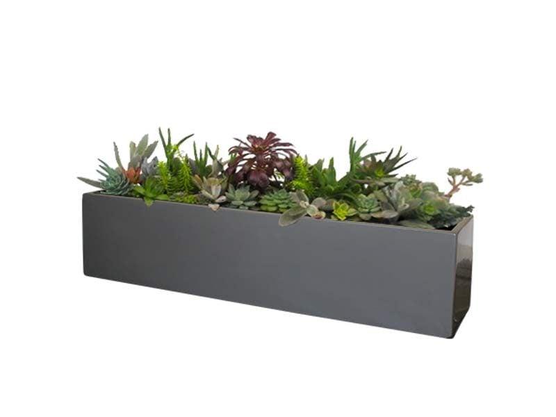 Vicksburg gray table top rectangular planter