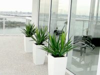 Three white tapered square planters on a bacony