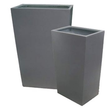 Amsterdam tapered gray planters in two sizes
