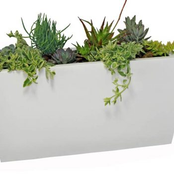 Panama tapered rectangular white planter