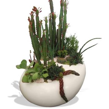 River rock tabletop white planter