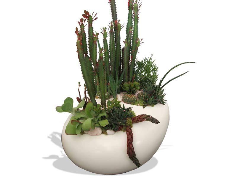 River rock tabletop white planter