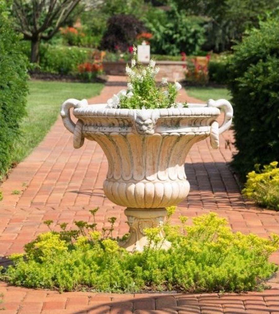 best flower pot arrangements with walkway urns